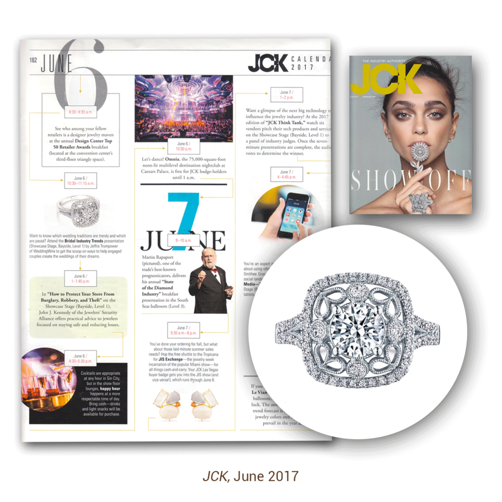 The latest issue of JCK Magazine wouldn't be complete without putting the Sylvie Collection's anniversary ring in it too!