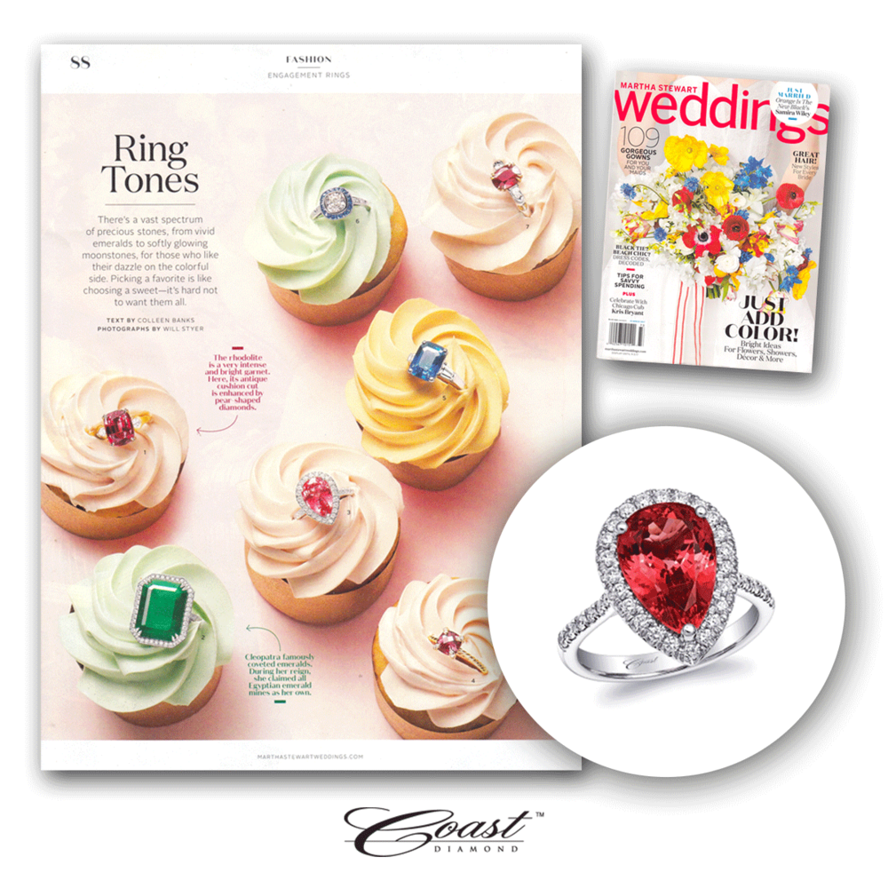 MSW found the cutest way to display this stunning ring from Coast Diamond's Signature Color Collection in their summer 2017 issue!