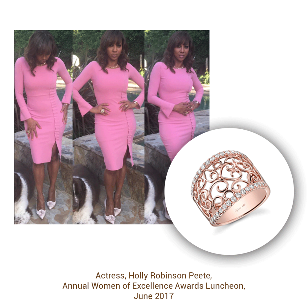 Holly Robinson Peete looking pretty in pink with this rose gold ring from the Sylvie Collection.