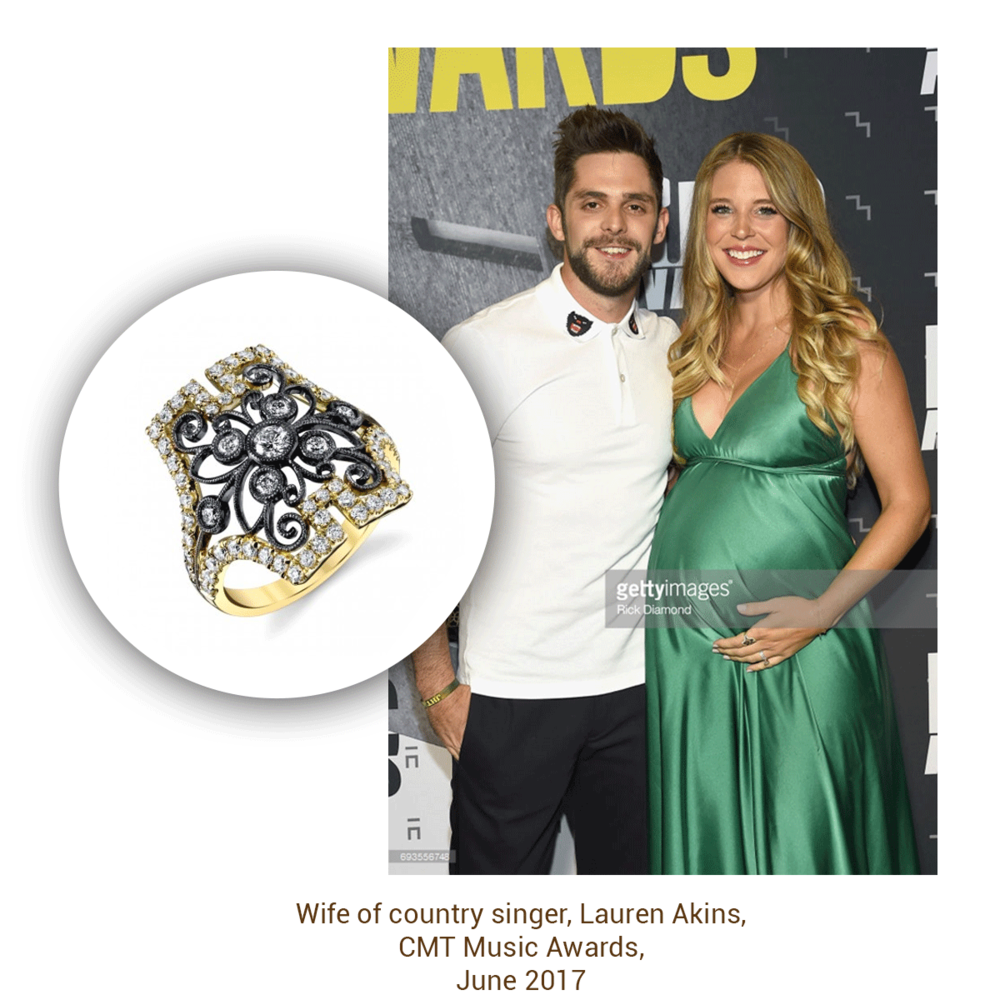 Lauren Akins looked beautiful at the CMT Music Awards, especially wearing this ring from the Sylvie Collection!