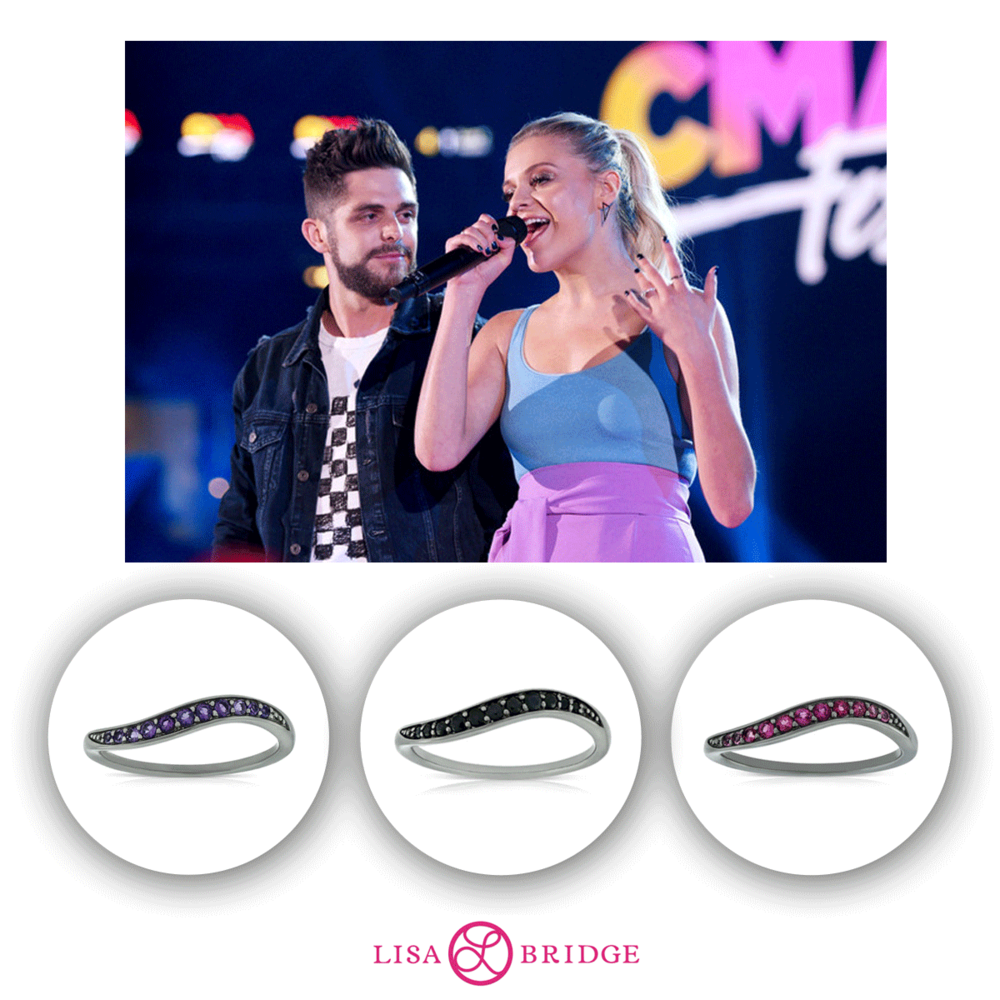 One outfit change later, Kelsea is seen wearing stunning Lisa Bridge rings while she co-hosts the CMT Awards.