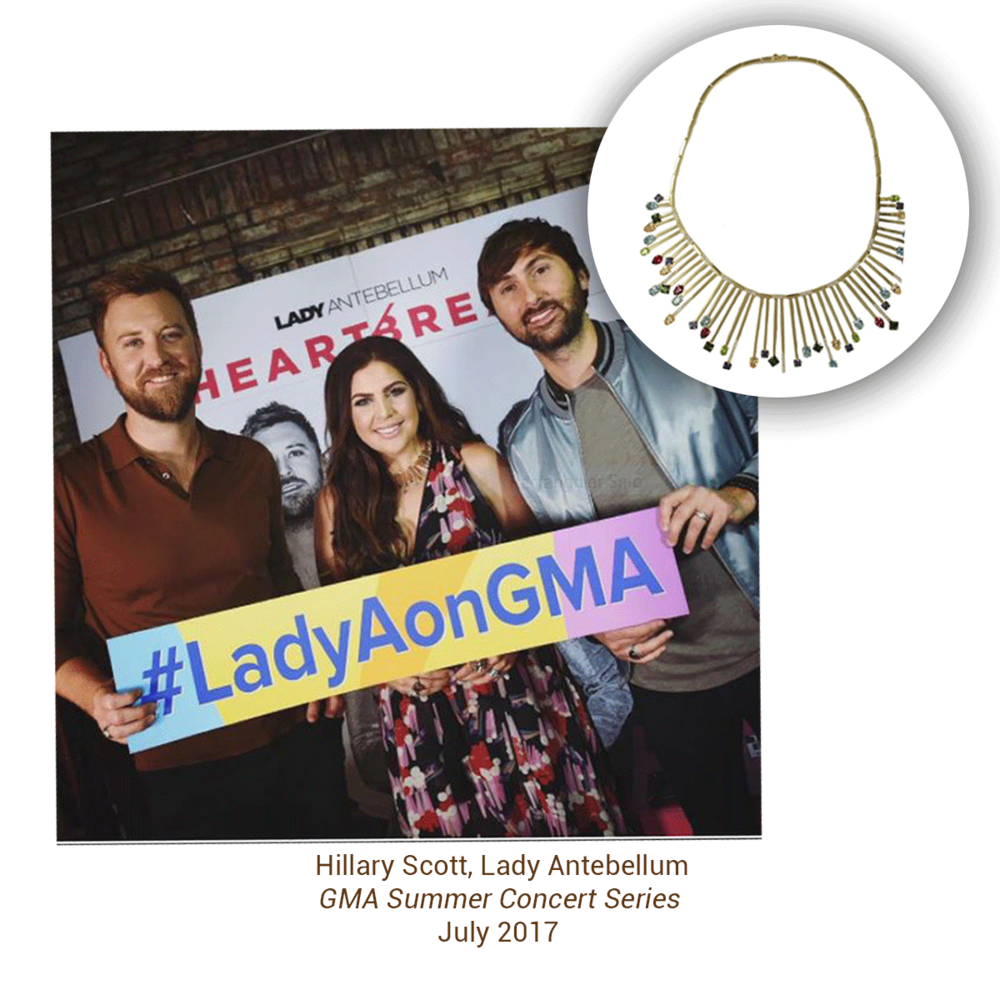 Singer, Hilary Scott of Lady Antebellum was spotted at GMA Summer Concert Series looking flawless in a Vianna B.R.A.S.I.Lnecklace.