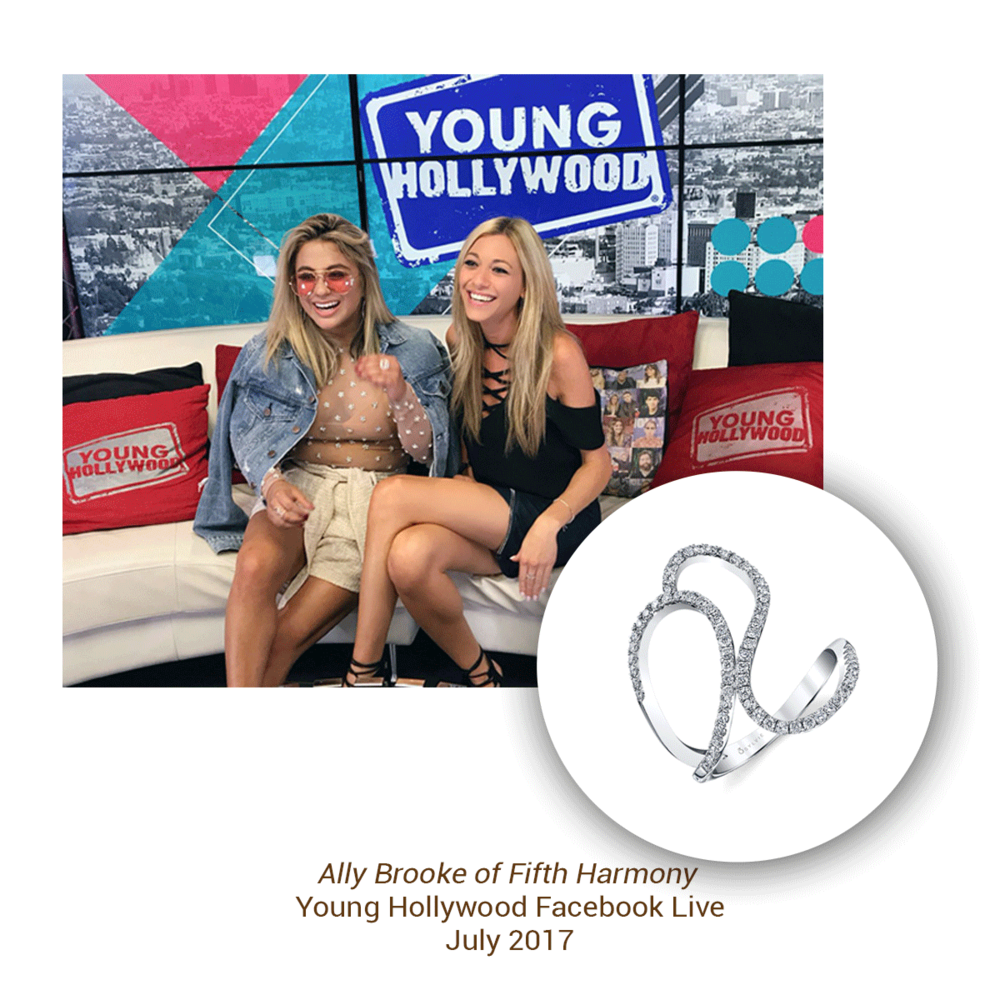 It's all smiles for singer Ally Brooke of Fifth Harmony. She was seen sporting a Sylvie Collection ring as part of her look for her Young Hollywood/Facebook Live appearance.