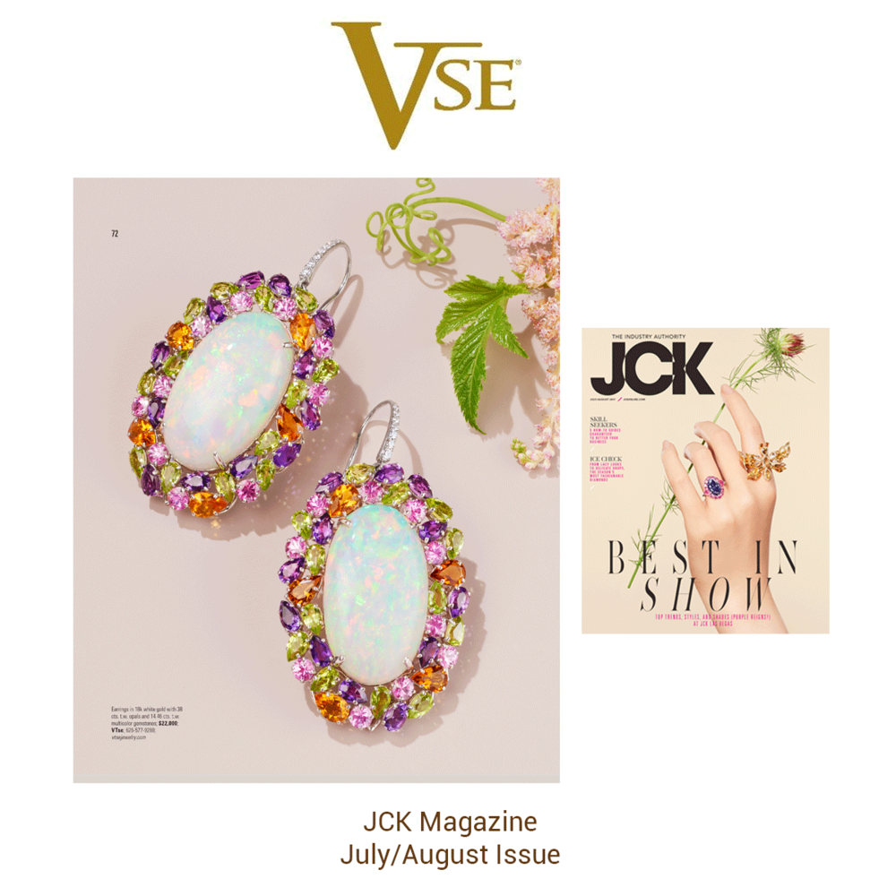 These lovely multicolored VTse earrings glistened in the JCK July/August Issue.