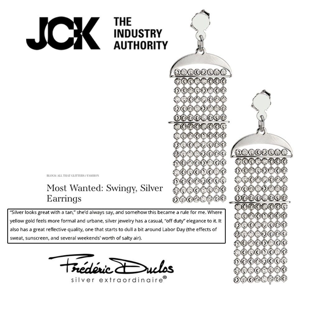 "These regal Frederic Duclos earrings were named ""Most Wanted: Swingy, Silver Earrings"" in the latest JCK blog."