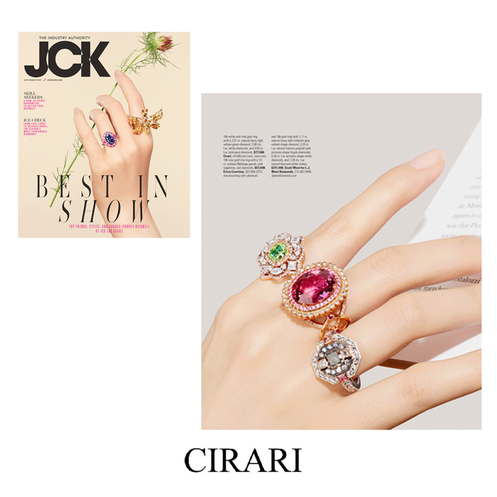 These unique Cirari rings stunned in the latest JCK issue. How colorful!