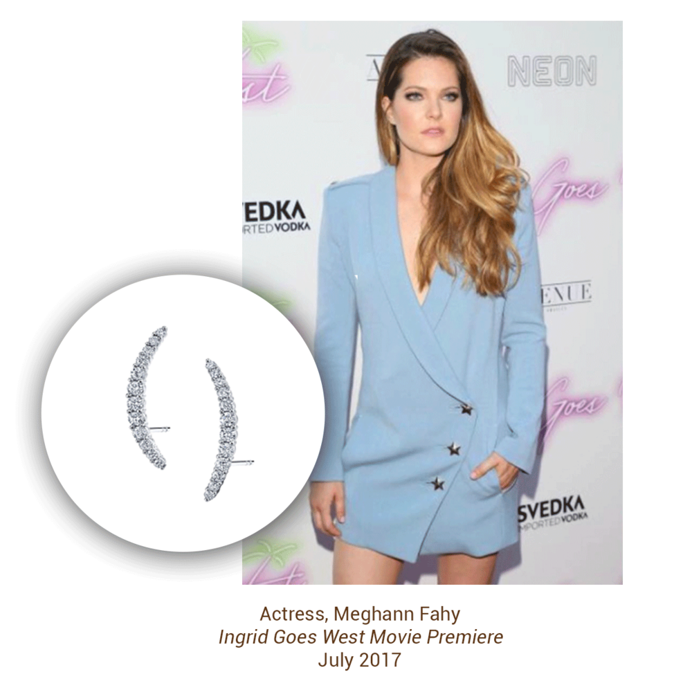Actress, Meghann Fahy stunned at the Ingrid Goes West movie premiere wearing Sylie Collection earrings.