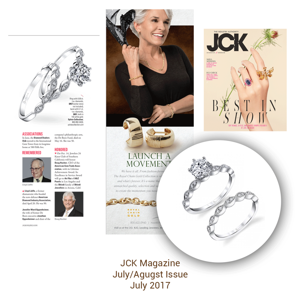 These dainty Sylvie Collection diamond rings shinned bright in the latest JCK issue.