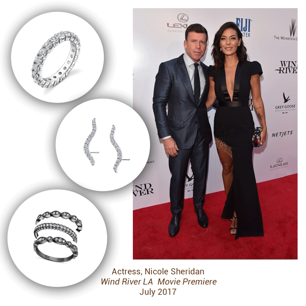 Nicole Sheridan stunned in these eye-catching Sylvie Collection pieces at the Wind River movie premiere in LA.