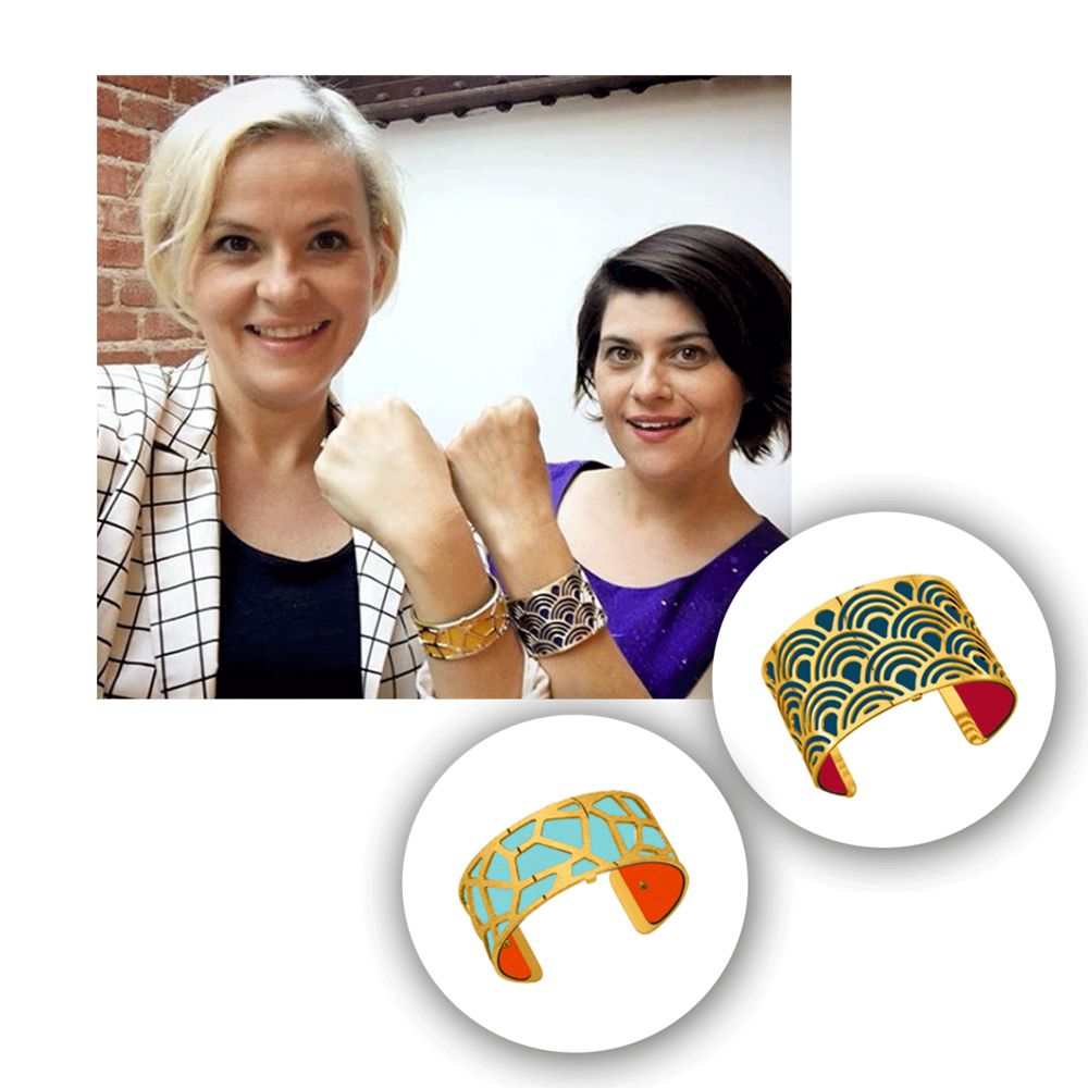 Kimmy Gatewood and Rebekka Johnson from the Netflix hit show GLOW beamed in their customized Les Georgettes cuffs.