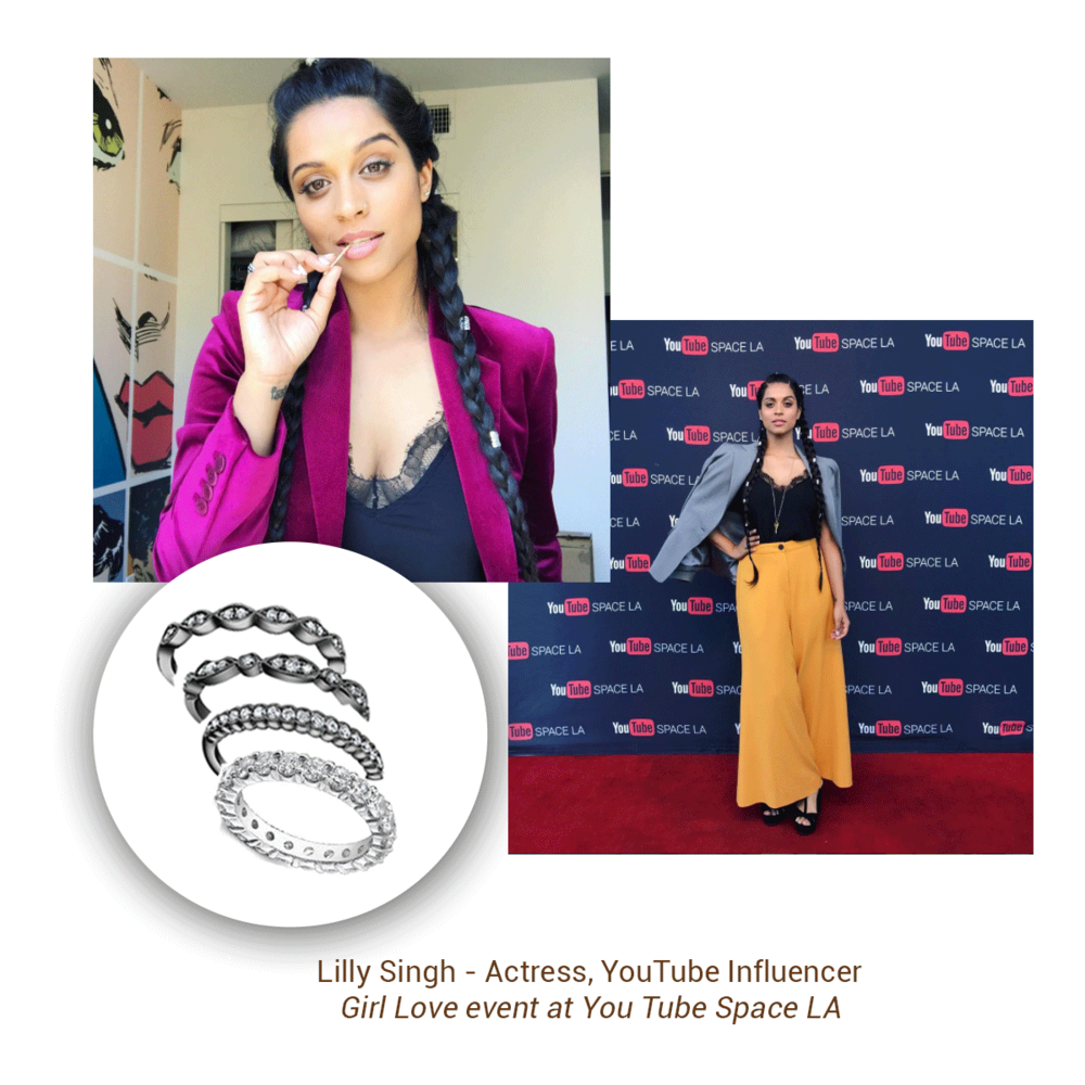 YouTube influencer, Lilly Singh looked chic in Sylvie Collection stackable rings at the Girl Love event YouTube Space LA.