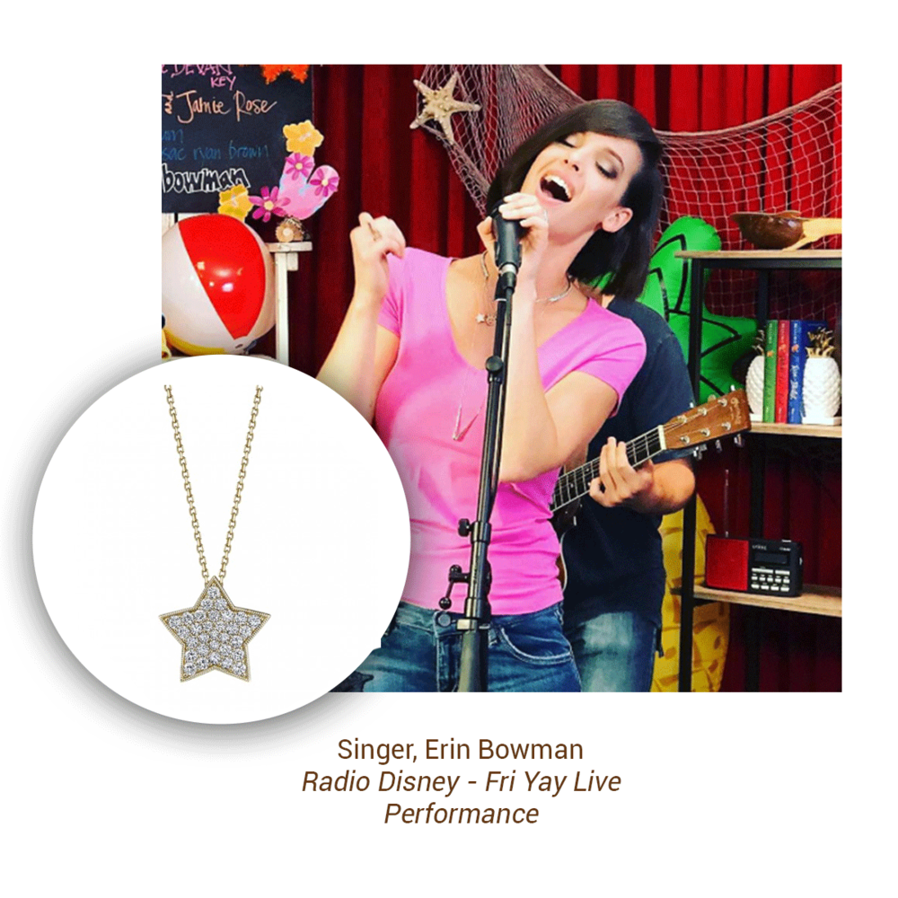 Erin Bowman rocked a new Sylvie Collection star necklace at her Radio Disney - Fri Yay Live Performance.