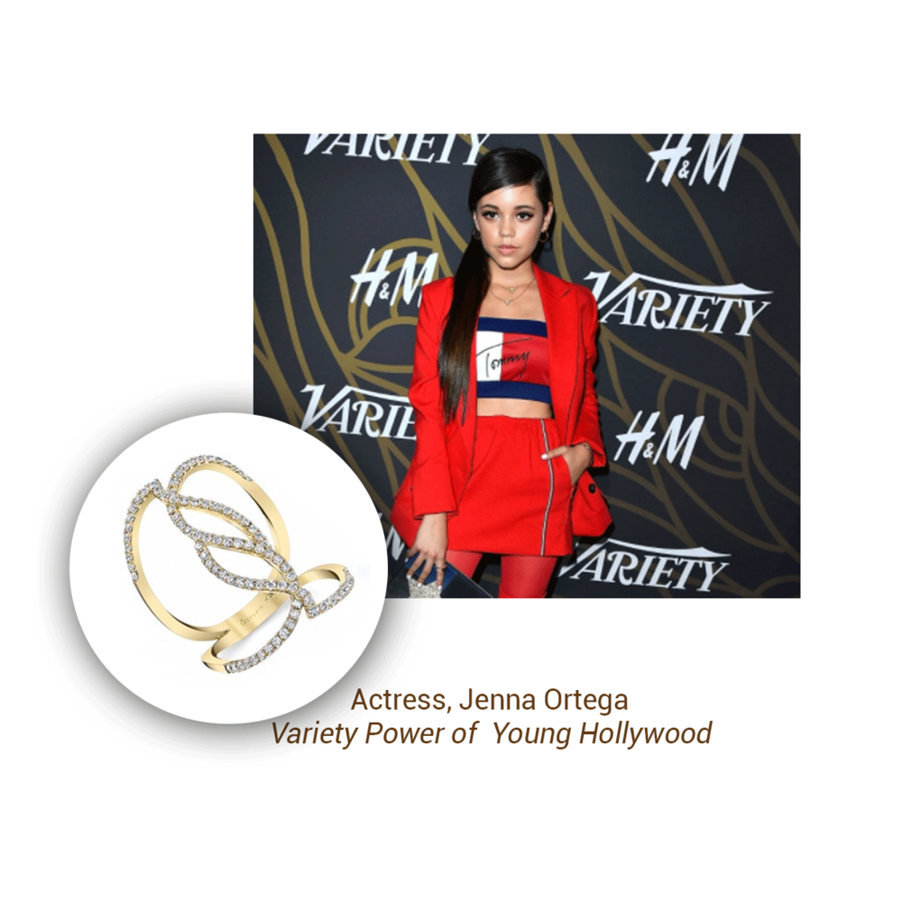 Actress Jenna Ortega sported a Sylvie Collection ring at the Variety Power of Young Hollywood event.