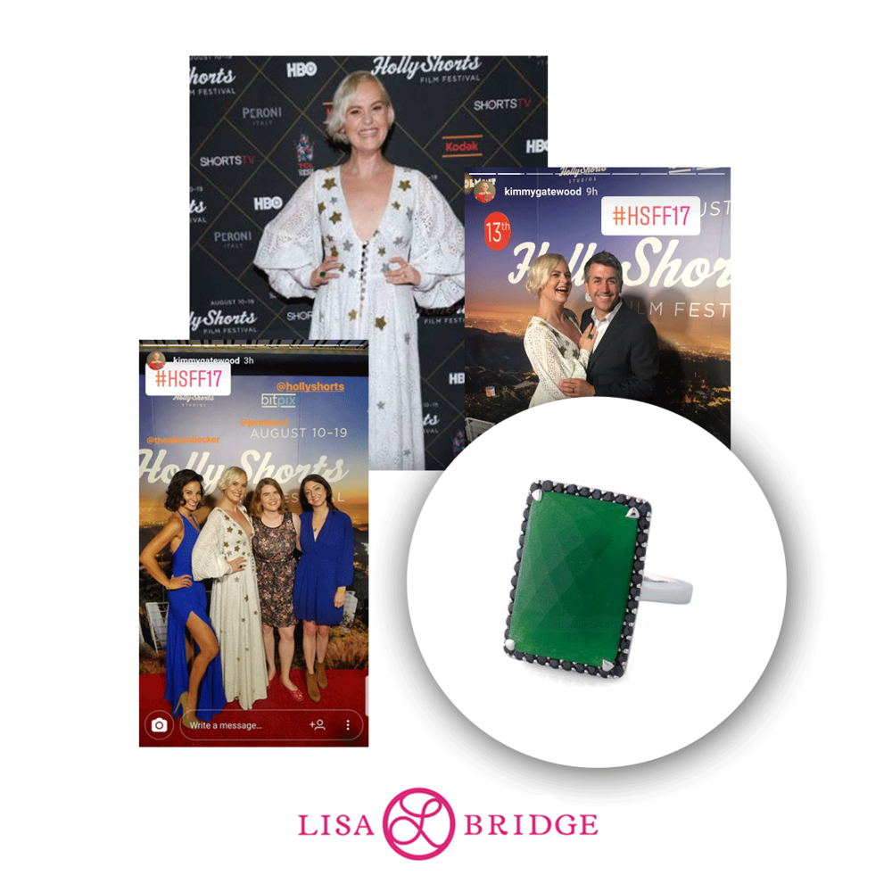 Kimmy Gatewood of the hit Netflix show GLOW stunned in this Lisa Bridge statement ring.