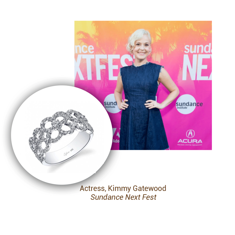 Kimmy Gatewood of the hit Netflix show GLOW looked lovely in a sparkling Sylvie Collectionstatement ring at the Sundance Next Fest event.