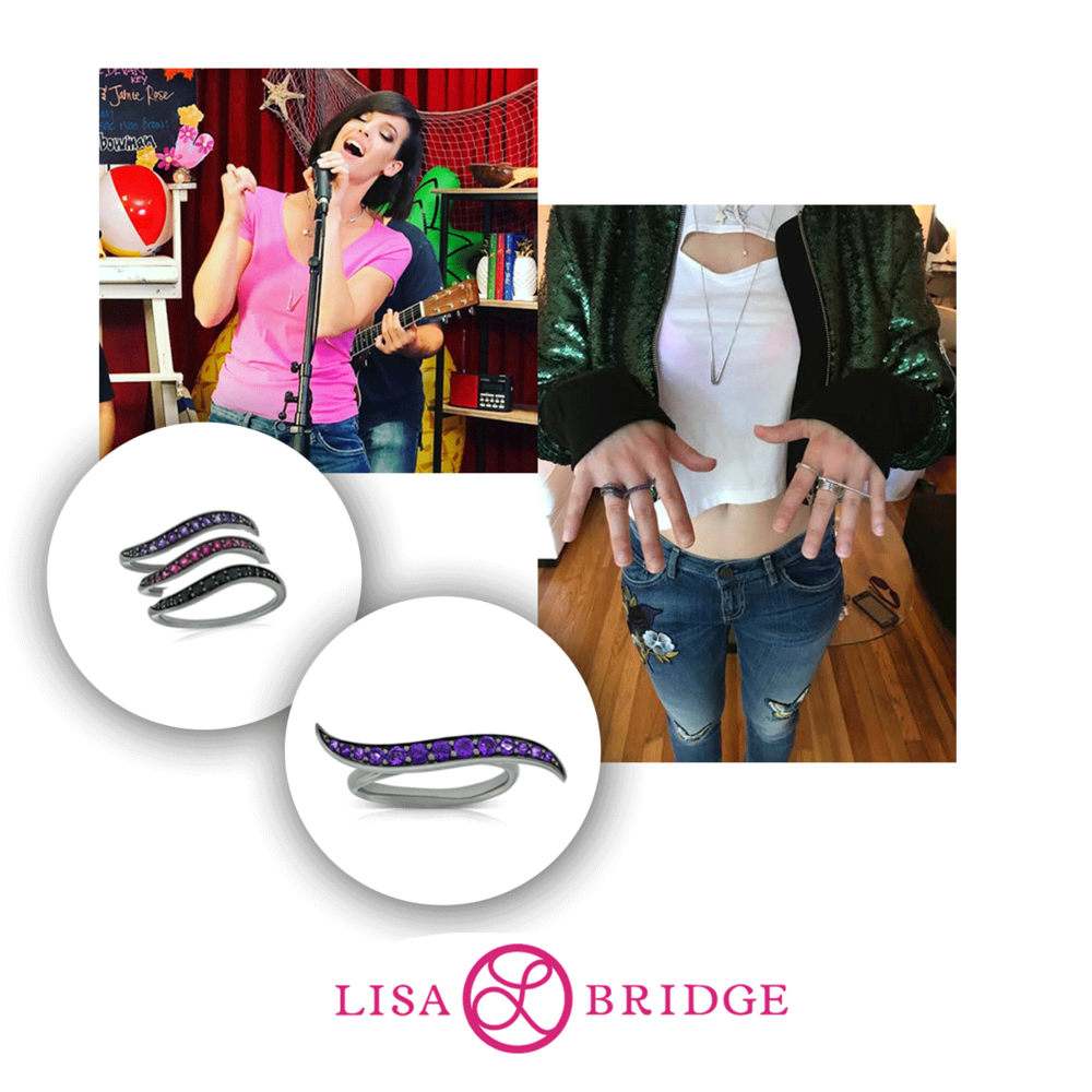 Erin Bowman stunned in a Lisa Bridge Amethyst wave ring and stackable rings at her Radio Disney - Fri Yay Live Performance.