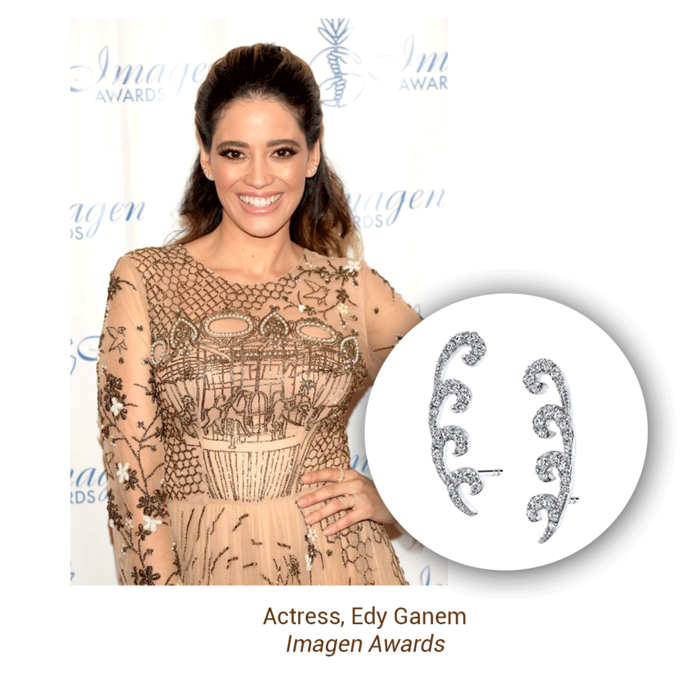 Edy Ganem sparkled in Sylvie Collection diamond swirl ear climbers at the Imagen Awards.