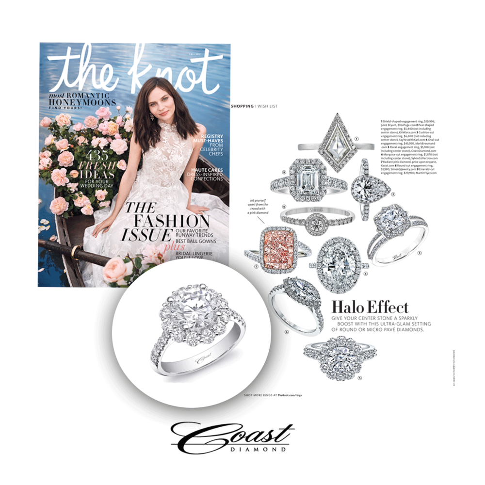 This Coast Diamond ring dazzled in The Knot Fall 2017 issue.