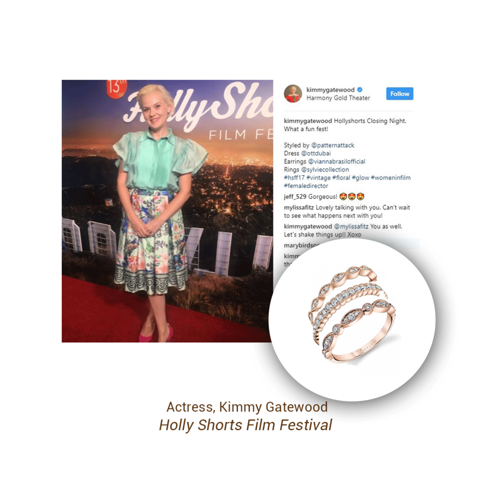 Kimmy Gatewood looked lovely in Sylvie Collection stackable rings at Holly Shorts Film Festival.