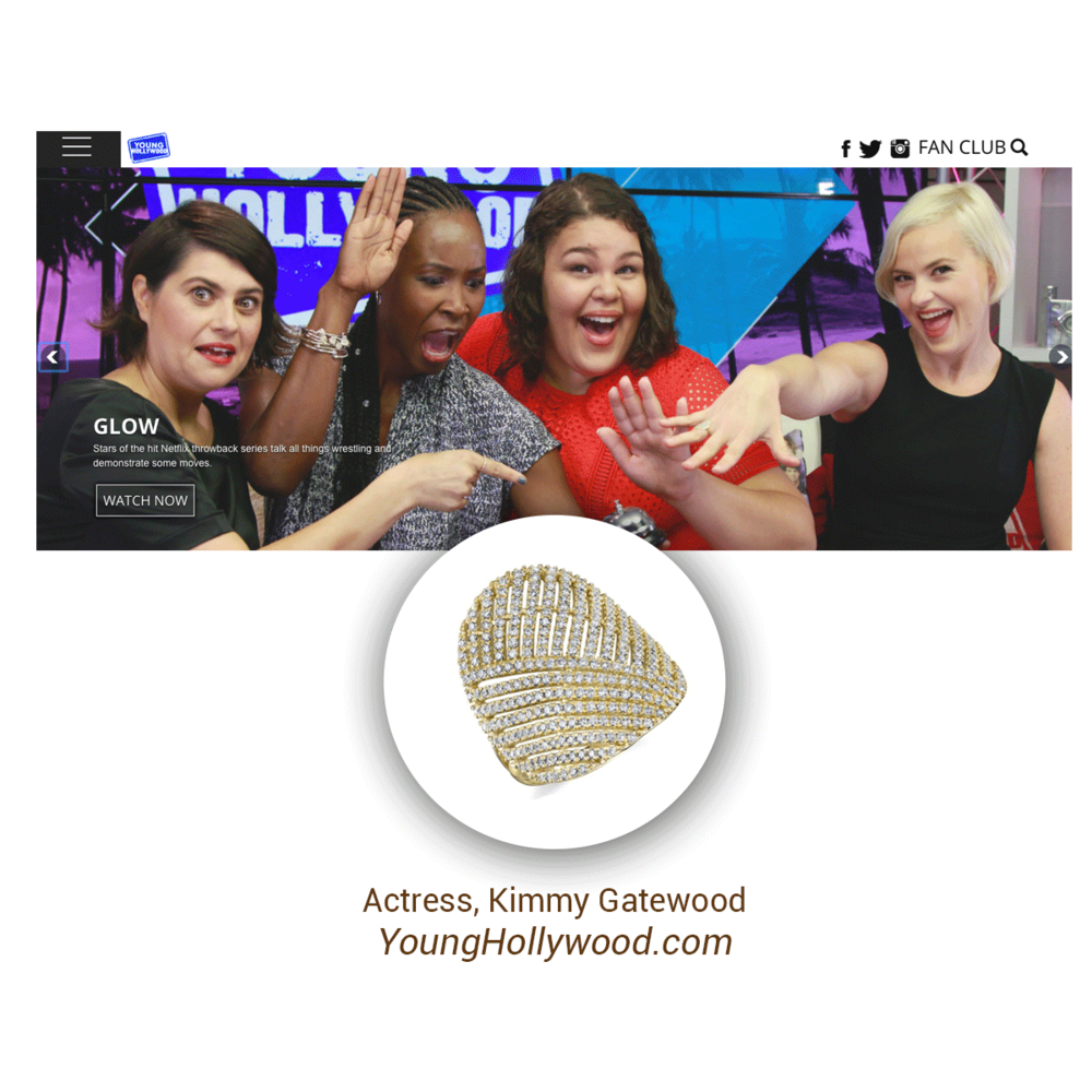 Actress, Kimmy Gatewood showed off her Sylvie Collection ring when she, and fellow GLOW cast-mates stopped by YoungHollywood.com for a full cast interview.