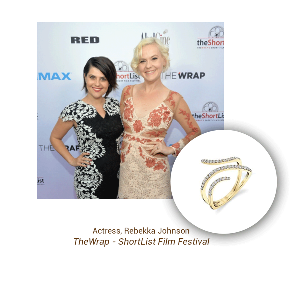Actress, Rebekka Johnson (left) was spotted wearing this Sylvie Collection ring at TheWrap - ShortList Film Festival.