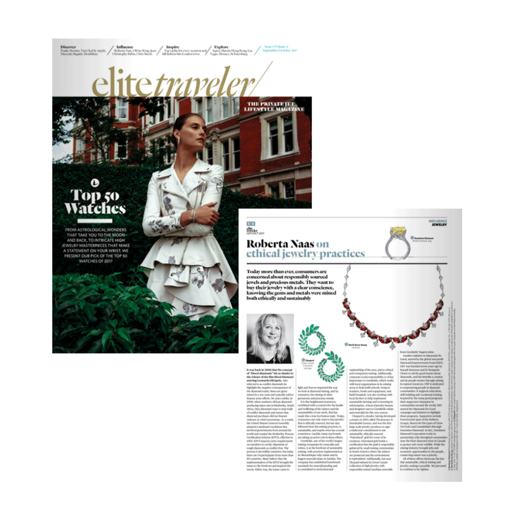 Elite Traveler's September/October issue highlights the positive initiatives of DiamondsDoGood and Diamond Empowerment Fund.