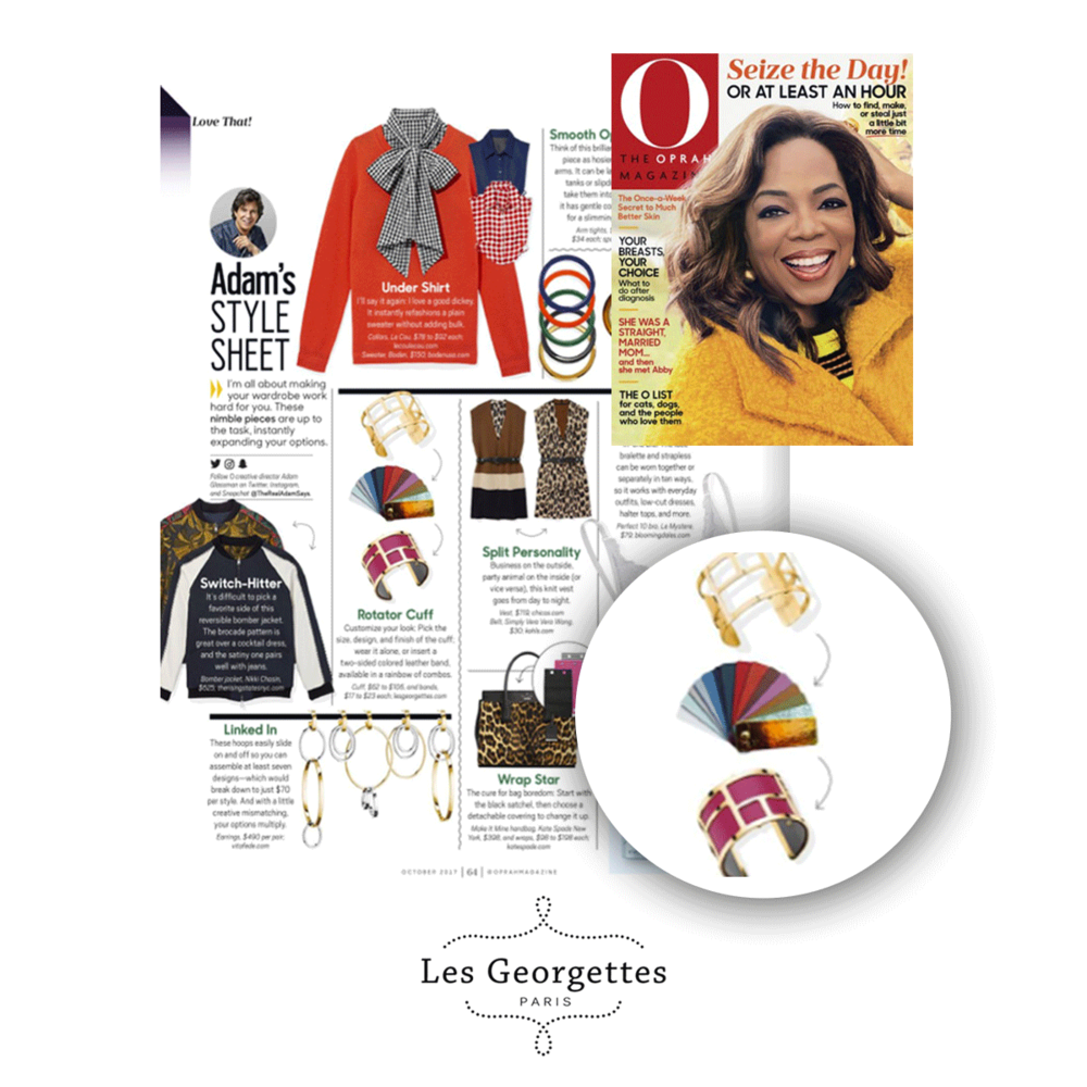 Les Georgettes cuffs are featured in The Oprah Magazine October issue.