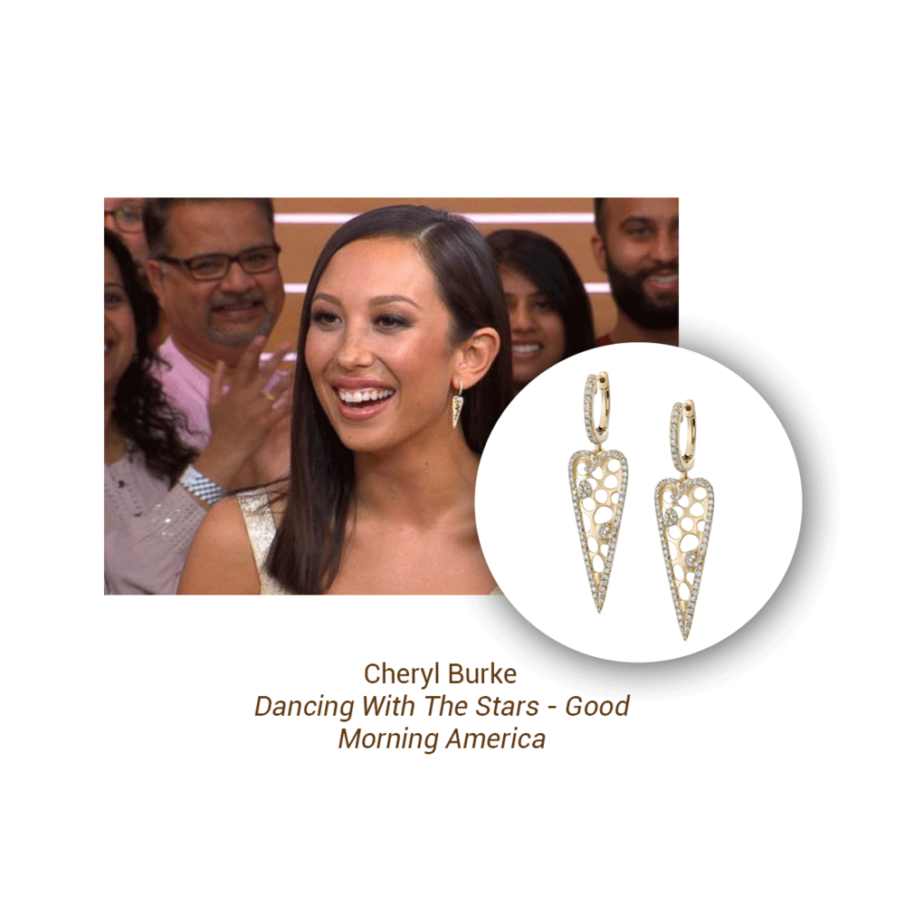 "Cheryl Burke of ""Dancing WIth The Stars"" was spotted on Good Morning America wearing these stunning Sylvie Collection earrings."