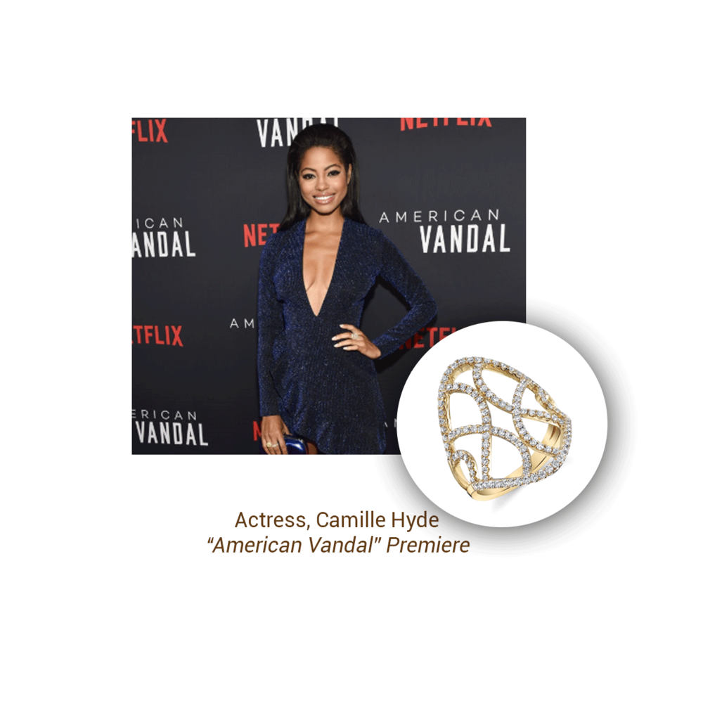 "Camille Hyde rocked this Sylvie Collection ring at the ""American Vandal"" premiere."