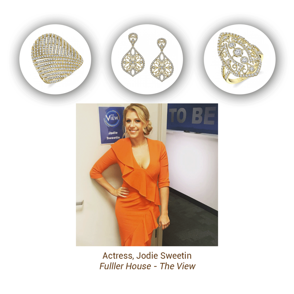 Jodie Sweetin was spotted wearing three Sylvie Collection pieces during her visit at The View.