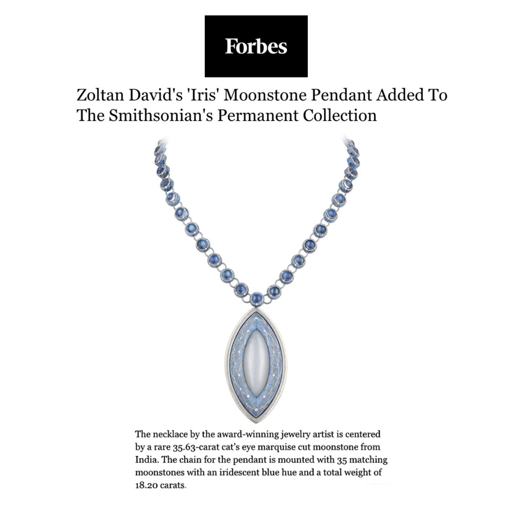 "Zoltan David's ""Iris"" Moonstone Pendant will be joining The Smithsonian's Permanent Collection."