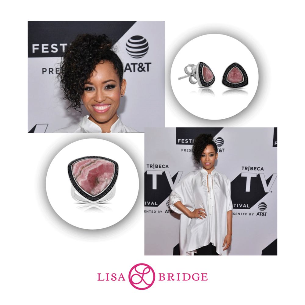 "Actress, Daw Lyen Gardner ""Queen Sugar"" wears Lisa Bridge stud earrings & shield ring to the Tribeca Film TV Festival."