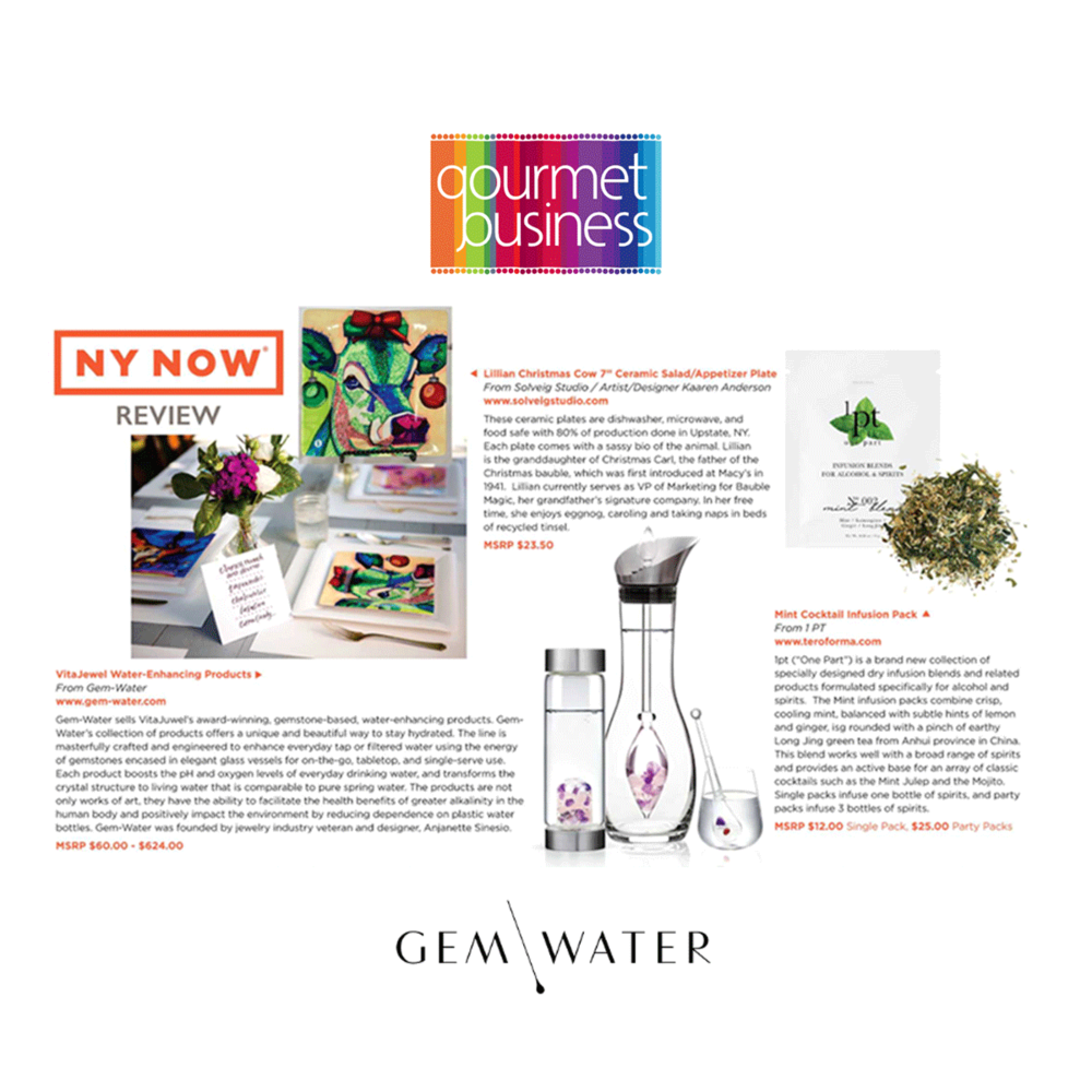 Gem Water was featured in the latest Gourmet Business magazine spread.
