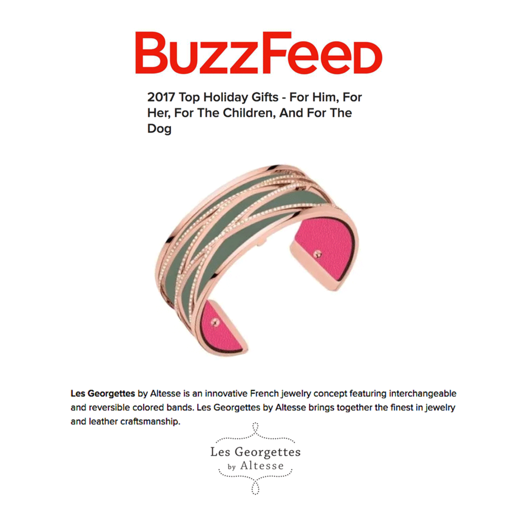 "This fun Les Georgettes cuff is named one of the ""2017 Top Holiday Gifts"" in Buzzfeed."
