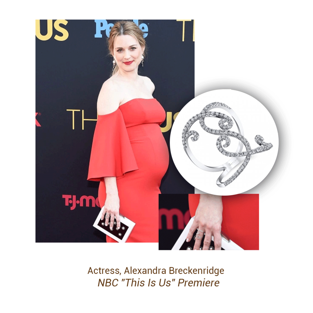 "Actress, Alexandra Breckenridge wore this Sylvie Collection ring to her ""This Is Us"" premiere."