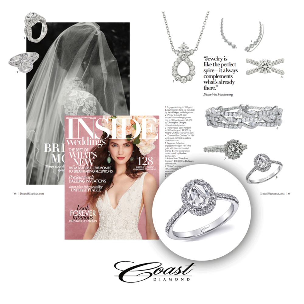 Inside Weddings Magazine featured this dazzling Coast Diamond ring in their Fall issue.