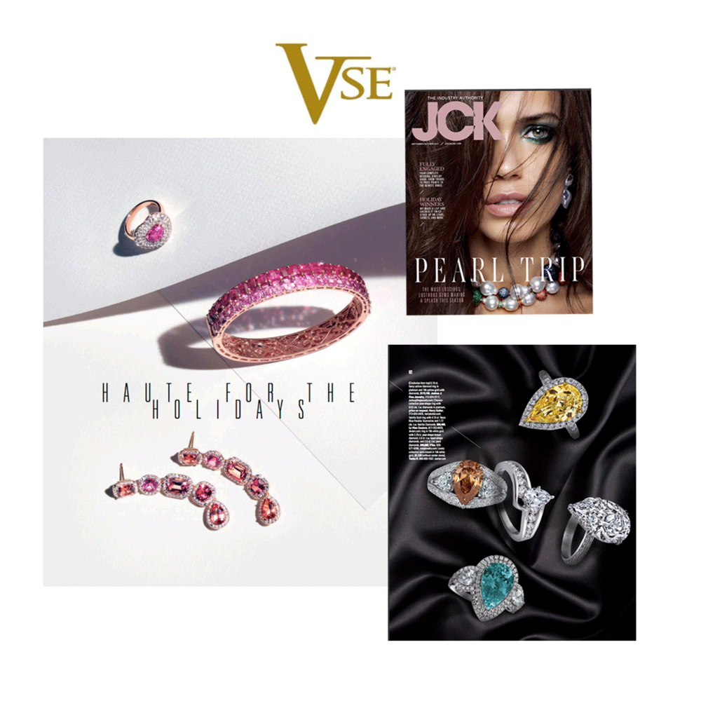 JCK Magazine featured a dazzling VTse pink bangle and pear shaped brown diamond ring in their September/October Issue.