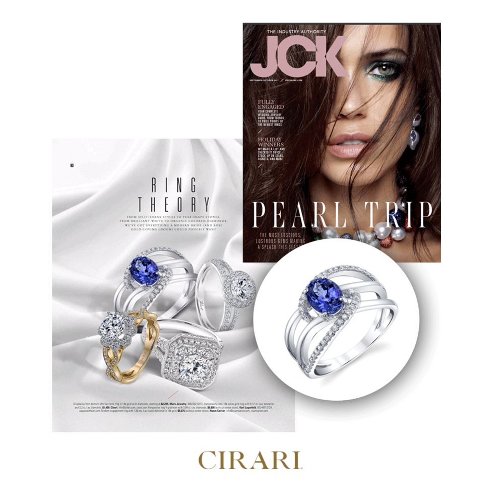 JCK Magazine featured this sparkling Cirari tanzanite ring in their September/October Issue.