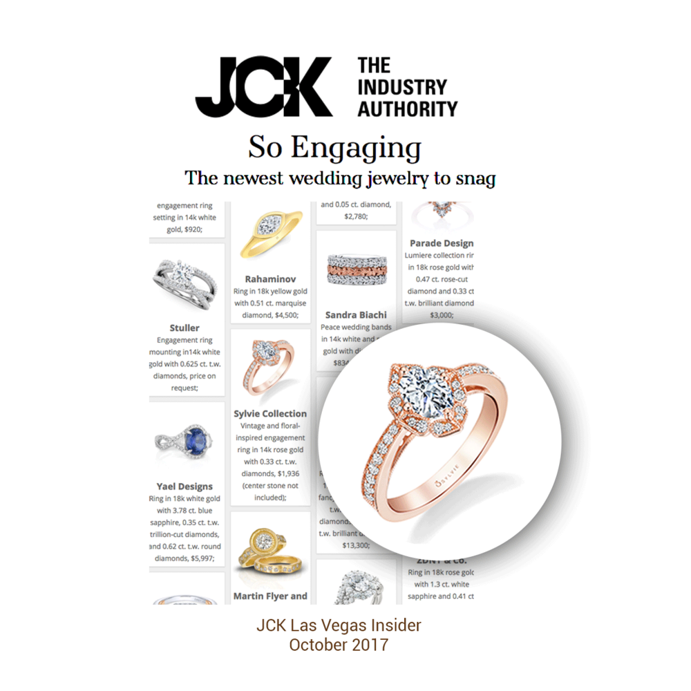 JCK Las Vegas Insider featured this lovely Sylvie Collection ring in their engagement ring issue.