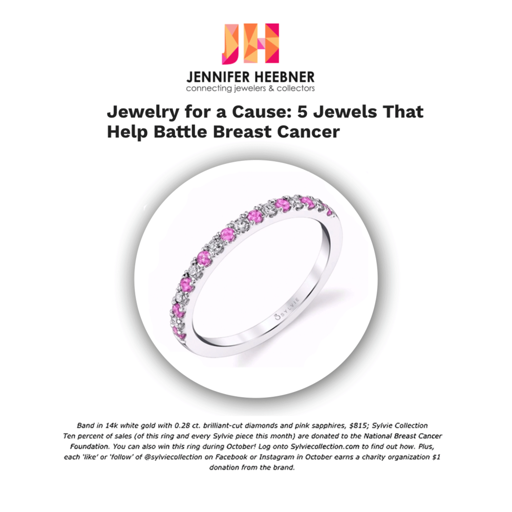 "JenniferHeebner.com highlighted Sylvie Collection as one of the ""5 Jewels That Help Battle Breast Cancer."""