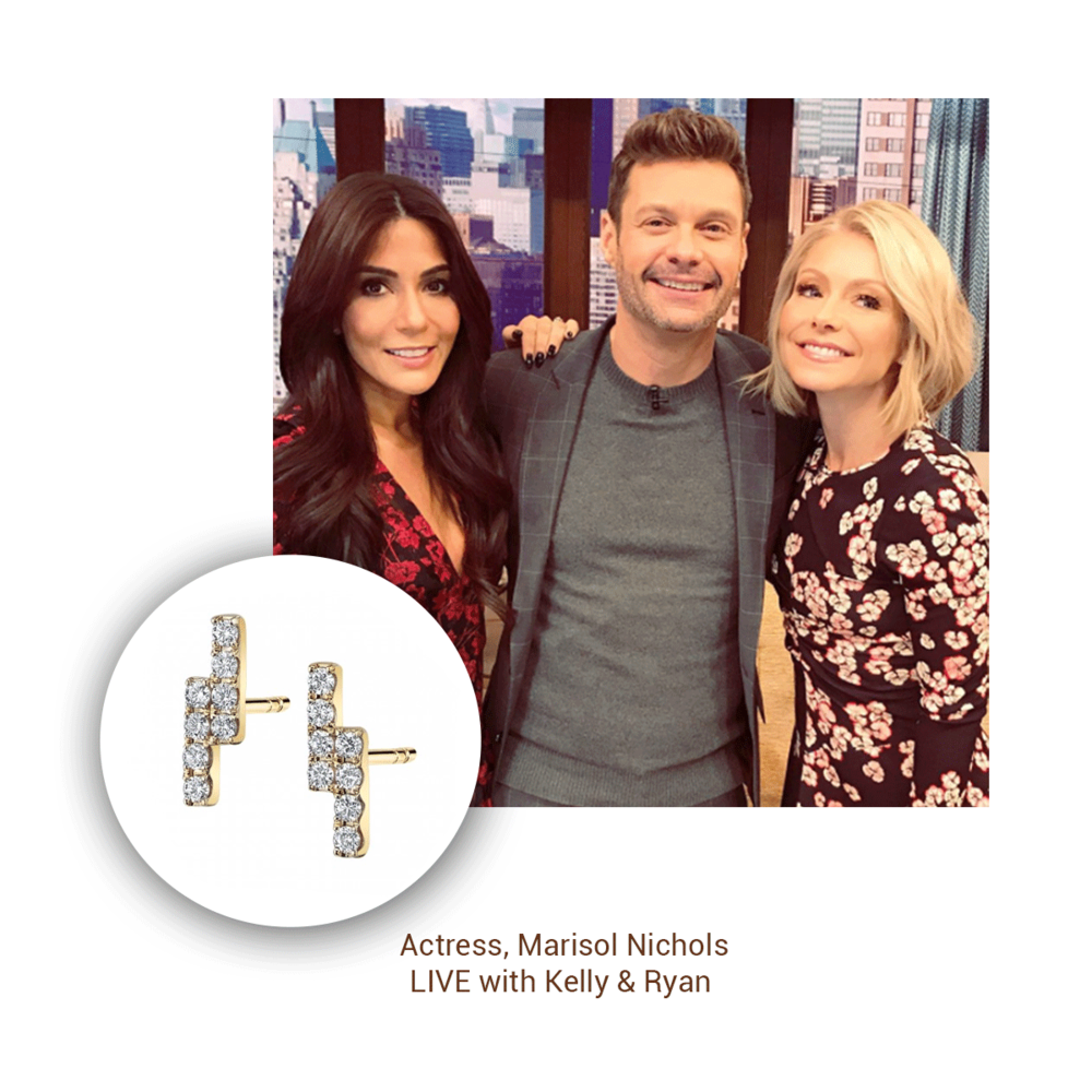 "Marisol Nichols of the Netflix show ""Riverdale"" was spotted wearing Sylvie Collection earrings at LIVE with Kelly & Ryan."