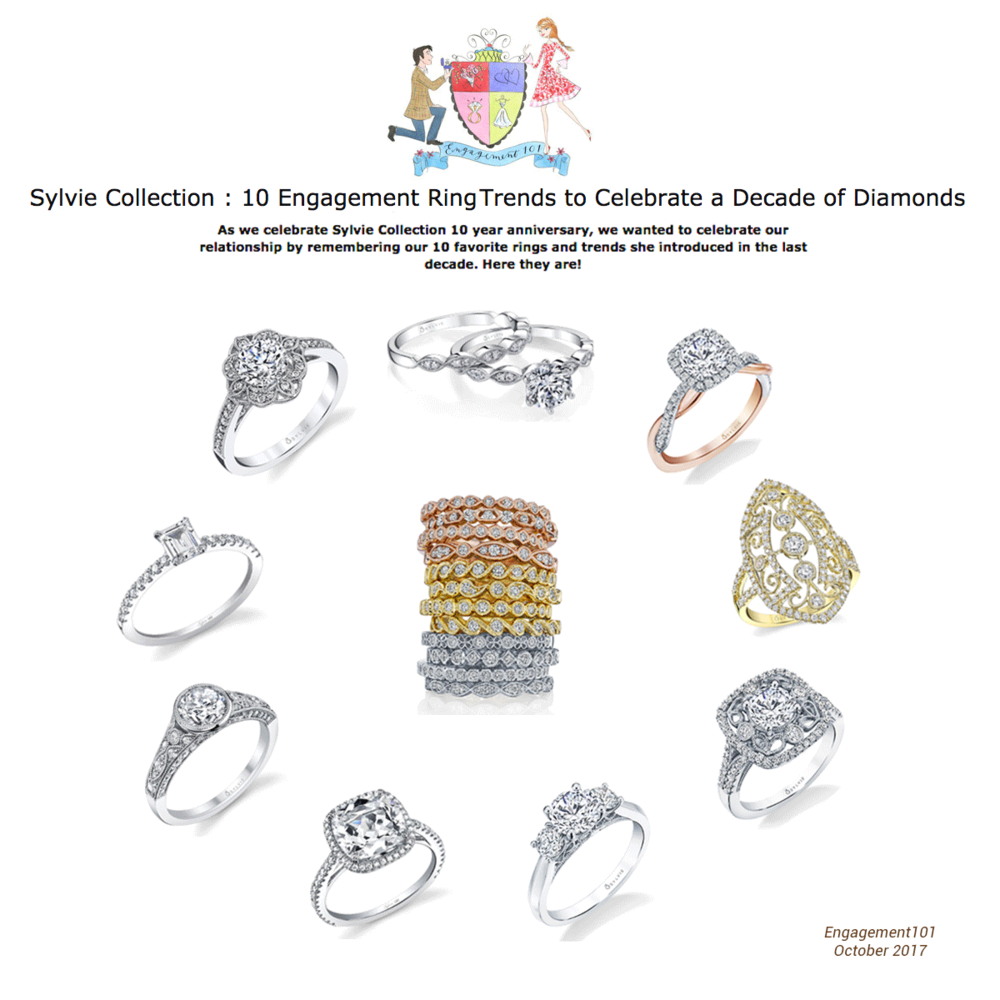 "Engagment 101 highlighted ten Sylvie Collection rings in their latest ""10 Engagement Trend Rings to Celebrate a Decade of Diamonds"" article."