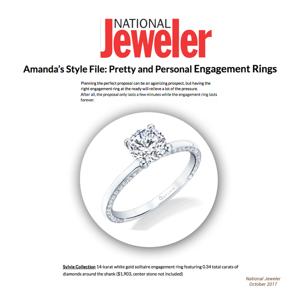 "This Sylvie Collection ring shinned bright in the National Jeweler's ""Amanda's Style File: Pretty and Personal Engagement Rings."""