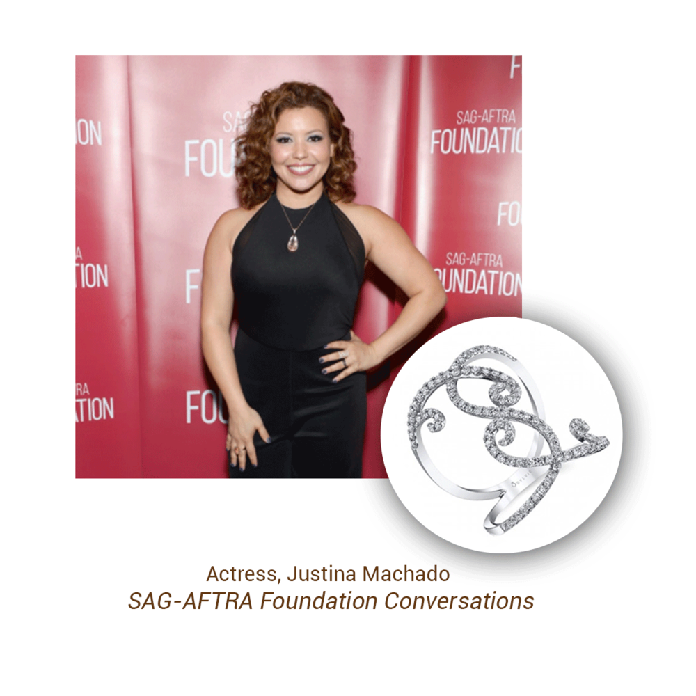 Actress, Justina Machado wore this elegant Sylvie Collection ring at the SAG-AFTRA Foundation Conversations event.