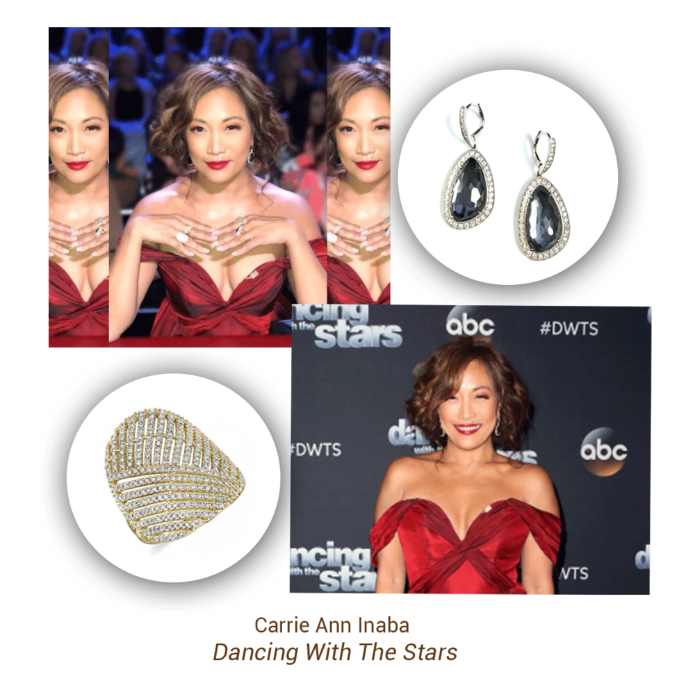 Carrie Ann Inaba wore these two stunning Sylvie Collection pieces on Dancing With The Stars.