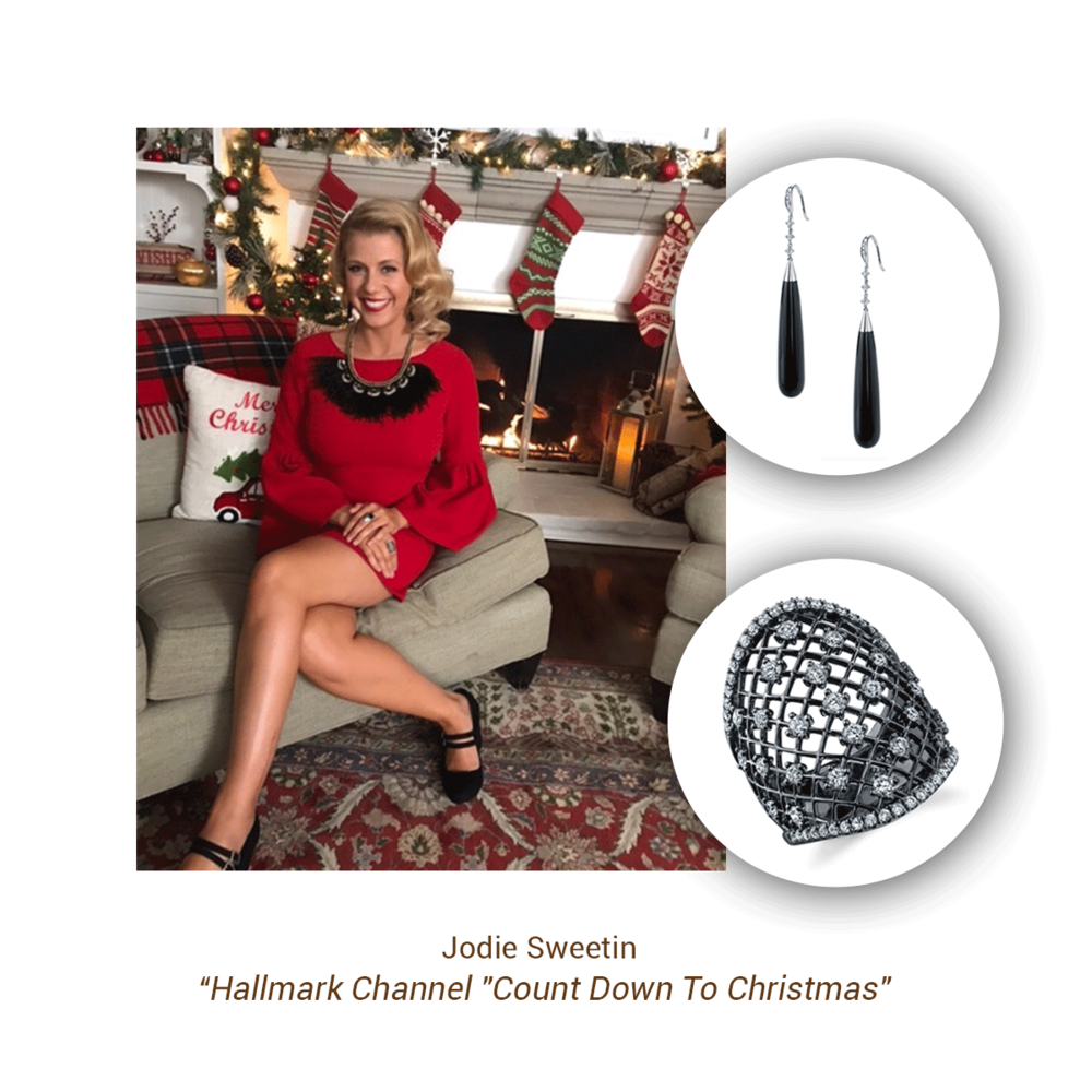 Jodie Sweetin rocked around the Christmas tree wearing these two Sylvie Collection pieces.