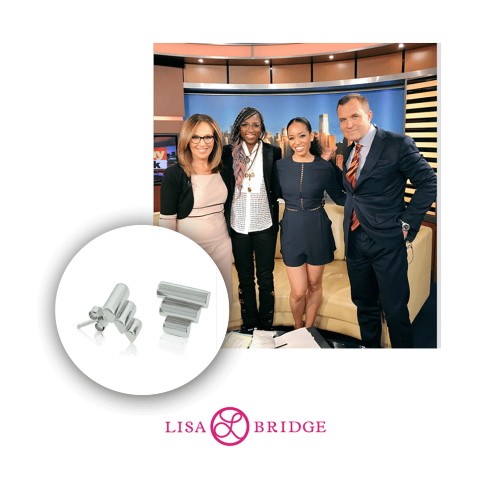 Actress, Dawn-Lyen Gardner made an appearance on Good Day NY wearing these lovely Lisa Bridge earrings.