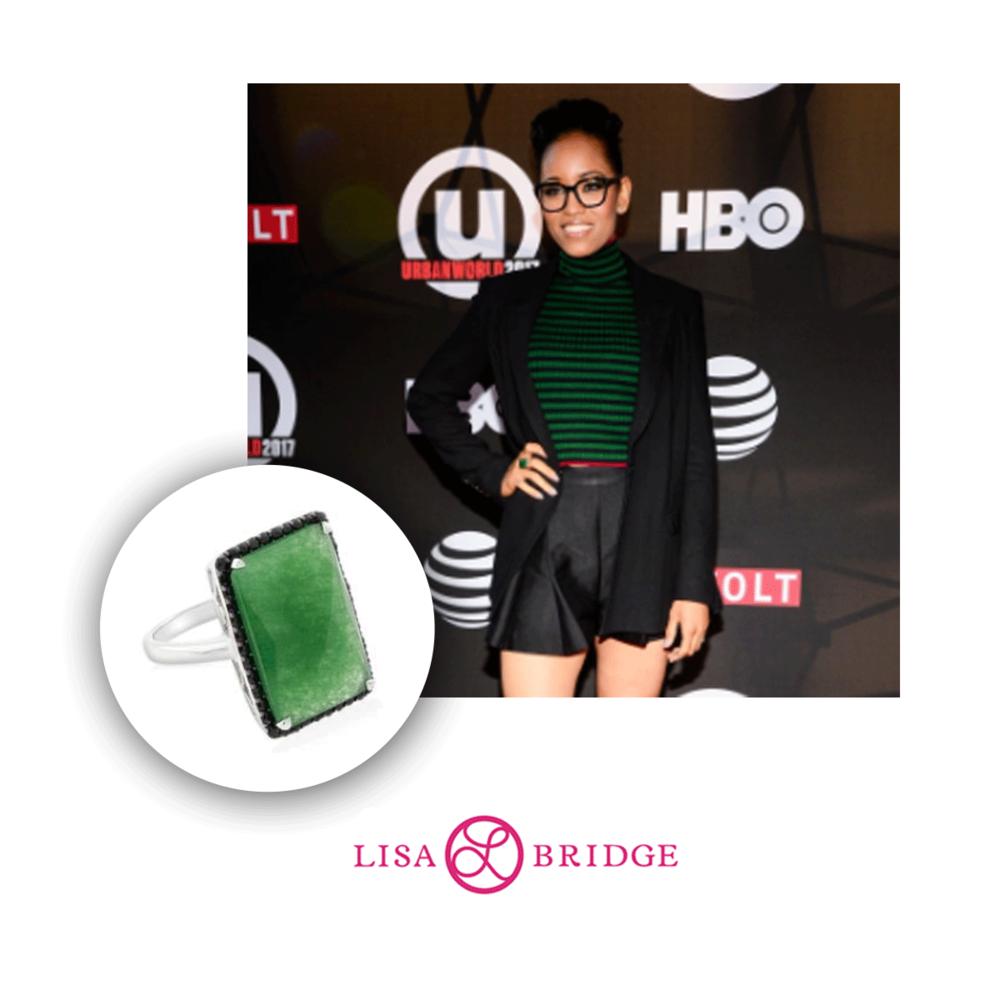 Dawn-Lyen Gardner was spotted at the Urbanworld Film Festival wearing this Lisa Bridge statement ring.