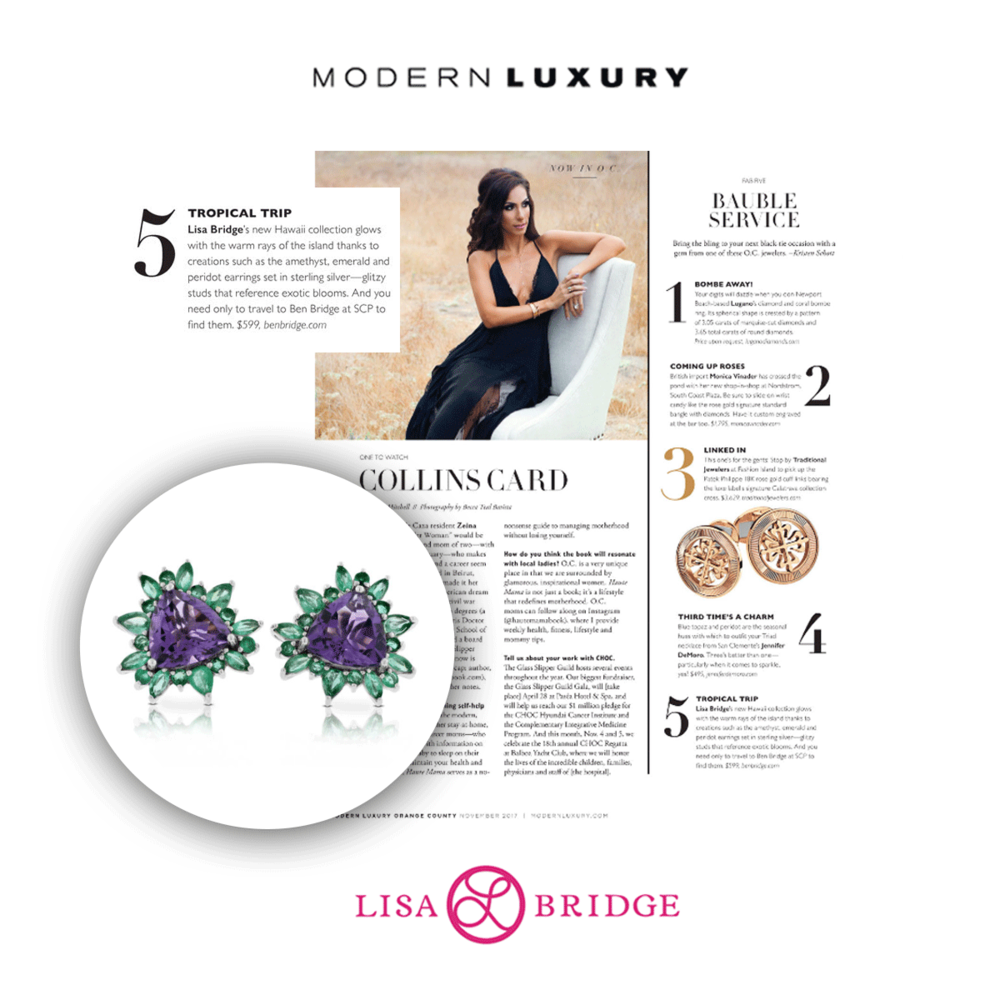 Lisa Bridge Hawaii Collection was featured in Modern Luxury's latest issue.