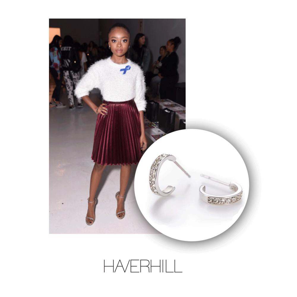 Skai Jackson wore Haverhillsterling silver hoop earrings during NYFW.